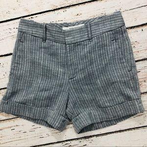 Zara basic navy pinstripe cuffed shorts